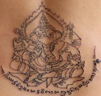 ganesh hindu elephant god sak yant muay thai tattoo